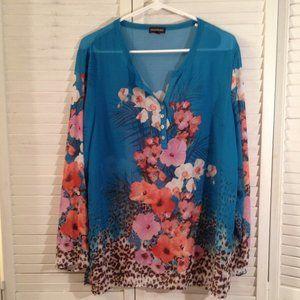 Multiples M Sheer Blue Floral Summer Top CoverUp